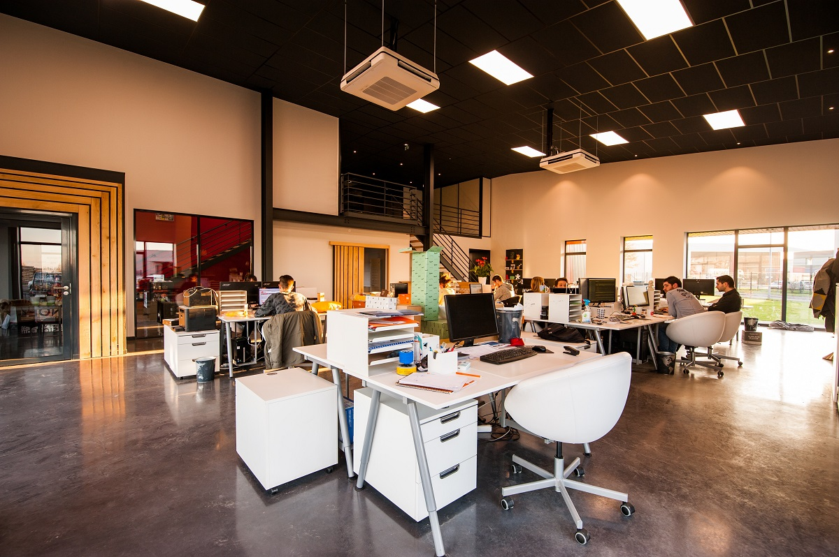 Open Office With Contemporary Light